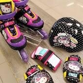 💟💜☮️💜PATINES AJUSTABLES EN COMBO HELLO KITTY NEGRO 💟💜☮️💜  *Exclusivo para niños* 💟💜☮️💜  ¡Luce como una rock star con los Hello Kitty Negro! Incluyen: -Par de muñequeras -Par de coderas -Par de rodilleras -1 casco. 💻 Tienda en línea: www.centroroller.mx